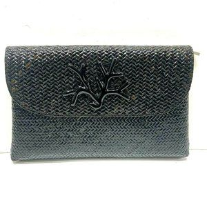 Asiaphile by Gail DeLoach Black Woven Straw Clutch